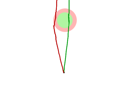 Excuse my terrible paint art, but imagine that circle is the pupil and the lines are red and green light wavelengths. See how the red light bends more sharply after it goes through the outer area?